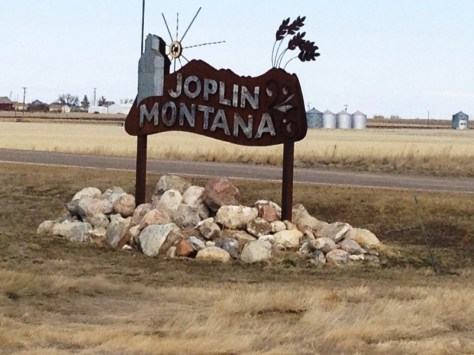 Joplin, Montana sign - another of the many metal signs on the Hi-Line