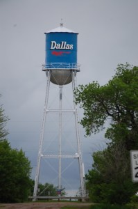 Water tower in Dallas -- in the middle of the road