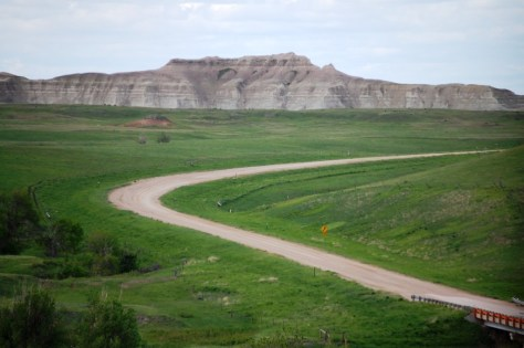 SD 63 going though prairie grasslands and badlands