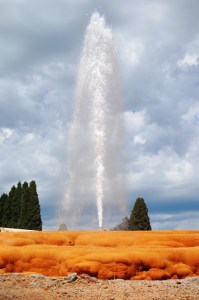 The Soda Springs Geyser - erupts every hour on the hour
