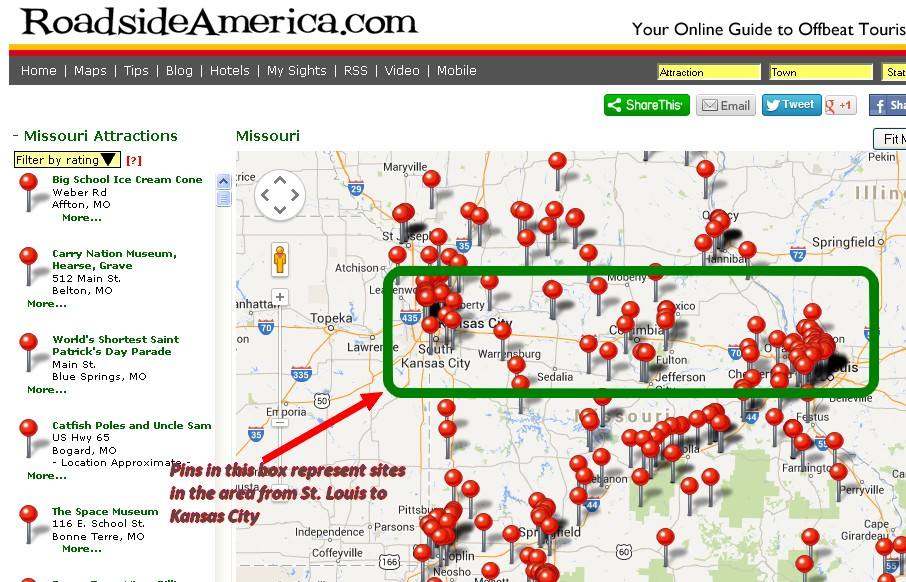 Roadside America Missouri Map Less Beaten Paths of America Travel Blog