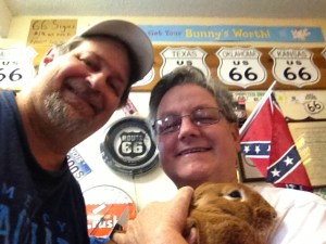 Rich Henry and Sumoflam with their rabbit at Henry's Ra66it Ranch in Staunton, IL