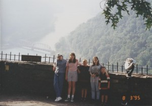 The kids at New River Gorge overlook in 1996