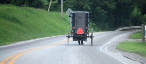 A lonely Amish buggy on the road in Charm, OH