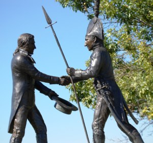 Meriwether Lews meets John Clark at the Falls of the Ohio near present day Clarksville, IN