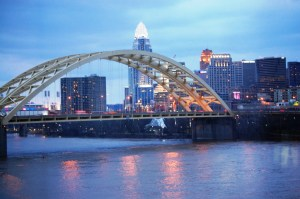 Cincinnati Skyline at night as seen from across the Ohio River in Newport, KY
