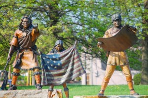 Lewis and Clark Statues with Sacajawea and some Indians in Paducah
