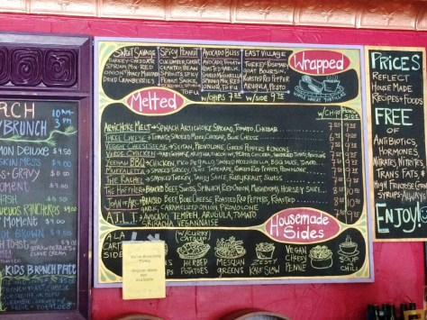 One of Melt's Menu Boards