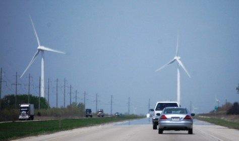 On I 39 North near Bloomington, IL.  Looks like we will drive right into the wind turbines