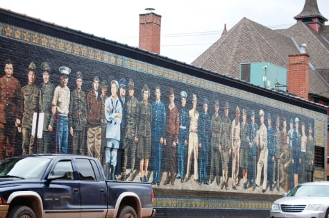 A large mural depicting actual veterans from Ashland, WI