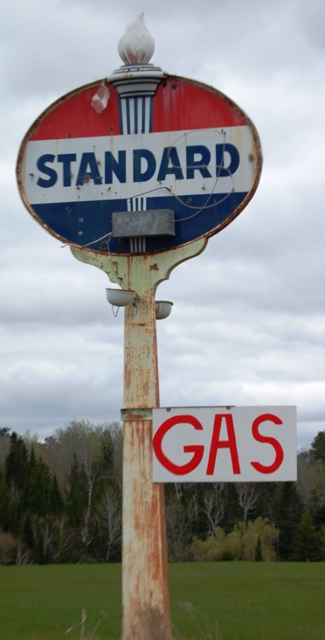 An old Standard gas sign at Pagac's Bar west of Ashland, WI on US Route 2