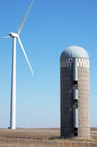 A silo and wind turbine coexist near Nekoma, ND
