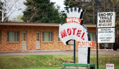 A Route 66 type of vintage neon sign at the Royal Motel in Ironwood, MI