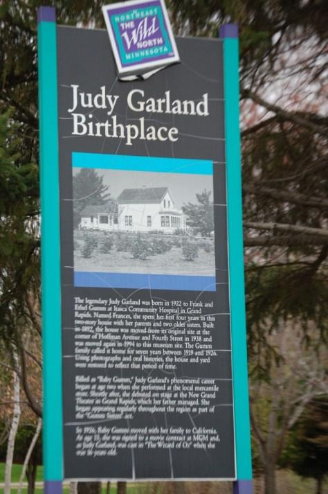 Judy Garland Birthplace placard in Grand Rapids, MN
