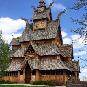 The Gol Stave Church replica and museum at the Scandinavian Heritage Center in Minot, ND