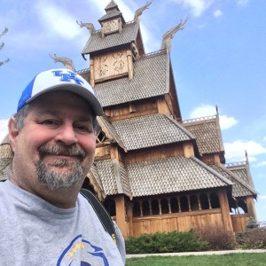 Sumoflam at the replica of the Gol Stave Church in Minot, ND
