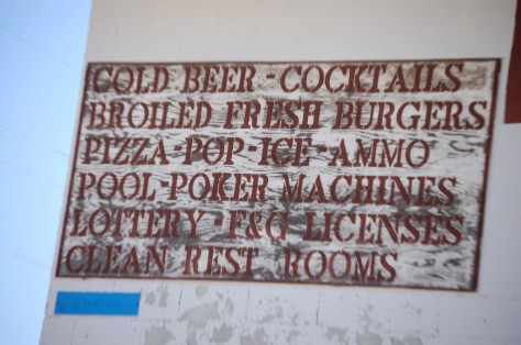 An old sign on a shop in Dodson, MT