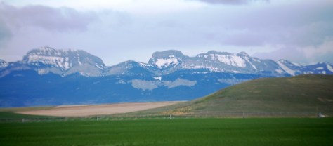 Rocky Mountains as seen from US 89 near Pendroy, Montana