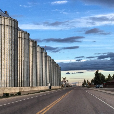 Silos against the morning sky in Fairfeld, Montana