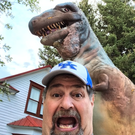 A T Rex coming after Sumoflam in Choteau, Montana at the Old Trail Museum