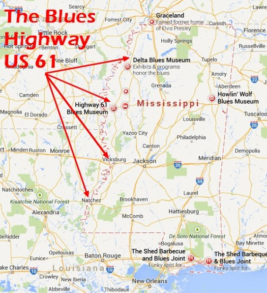 Highway 61 Visited The Blues Highway Of Mississippi Day 1 Less - Us-highway-61-map