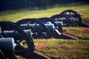 Cannon line the grounds of Vicksburg National Military park in Vicksburg, MS