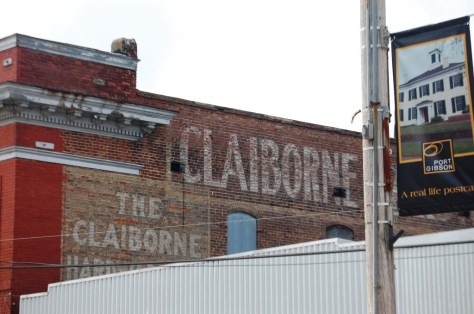 A sign of the past, this Ghost Sign for Claiborne Hotel in Port Gibson, MS
