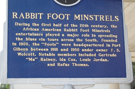 Rabbit Foot Minstrel marker in Port Gibson, MS