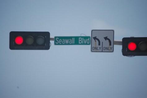Seawall Blvd., the main beach drive on Galveston