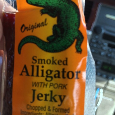 Smoked Alligator Jerky found at the small store in Jamaica Beach