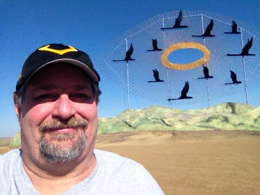 "Sumoflam at the ""Geese in Flight"" Scrap Metal Sculpture, the world's largest"