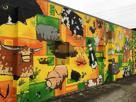 Stockyard Commons mural by Dronex Inc., located on Lisle Industrial