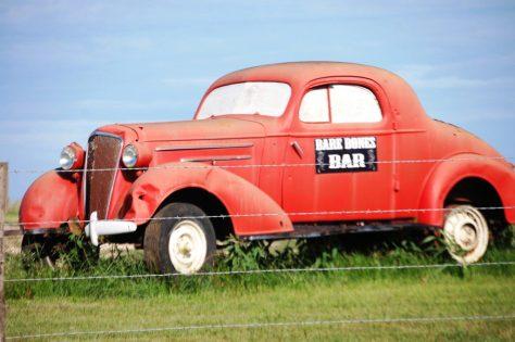 Bare Bones Bar advertising car - Shiro, TX