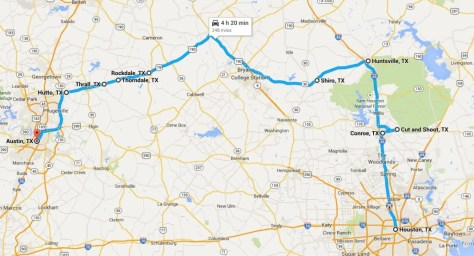 My route from Houston to Austin ... the long and scenic route