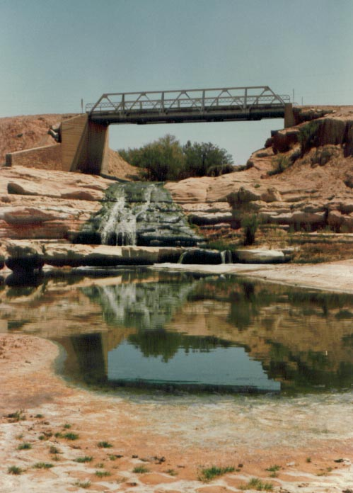 Water scene near Tuba City, AZ on the Navajo Reservation, ca. 1982