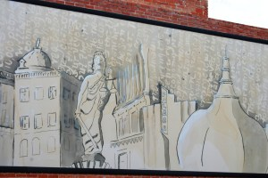 A mural in Georgetown that depicts some of the towns more famed buildings