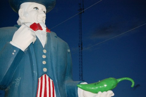 A fiberglass Uncle Sam in Hatch, NM