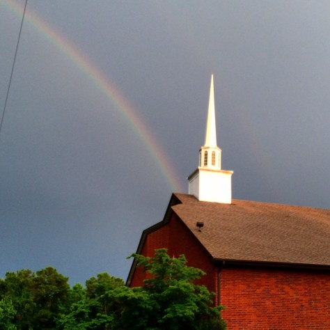 Trinity Temple Assembly of God in Arkadelphia, AR with a rainbow