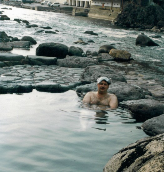 Enjoying an outdoor bath in Amagase, Japan.  This was actually part of TV series I was hosting in 1988