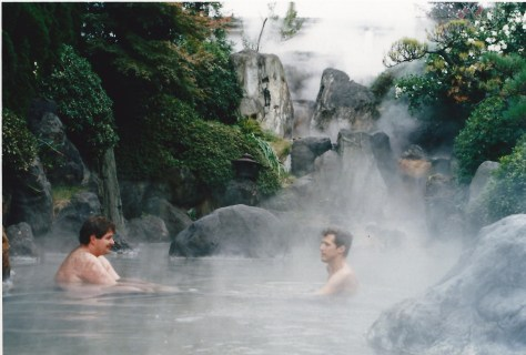 Relaxing on one of the cozy hot pools in Beppu in 1987.  You are required to be totally disrobed...this is the least revealing photo.