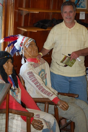 Brother in law with Indians in Wigwam Village gift shop