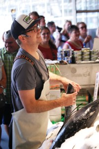 One of the famed fishmongers of Pike Place Market