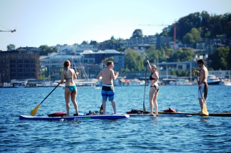 Paddle Boarders in Lake Union....as seen from the Duck