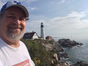 Visiting the beautiful lighthouse on the rocky shores of the Atlantic Ocean in Portland, Maine in 2015