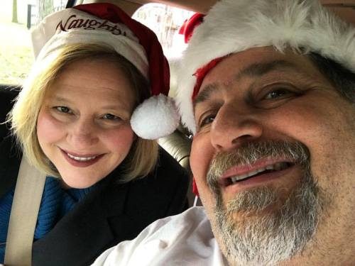 SumoSanta and Mrs. SumoSanta having fun