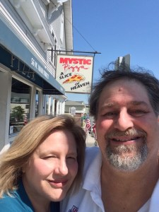 Mystic Pizza in Mystic, CT with my sweet wife