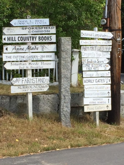 Signposts in Sandwich, NH. No restaurants!