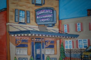 A painting by a local artisit of the Guarino's Store front.