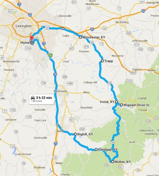 Map of my May 9 trip on KY 89