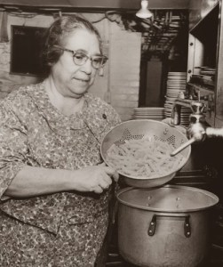 Mama Guarino making pasta in the kitchen